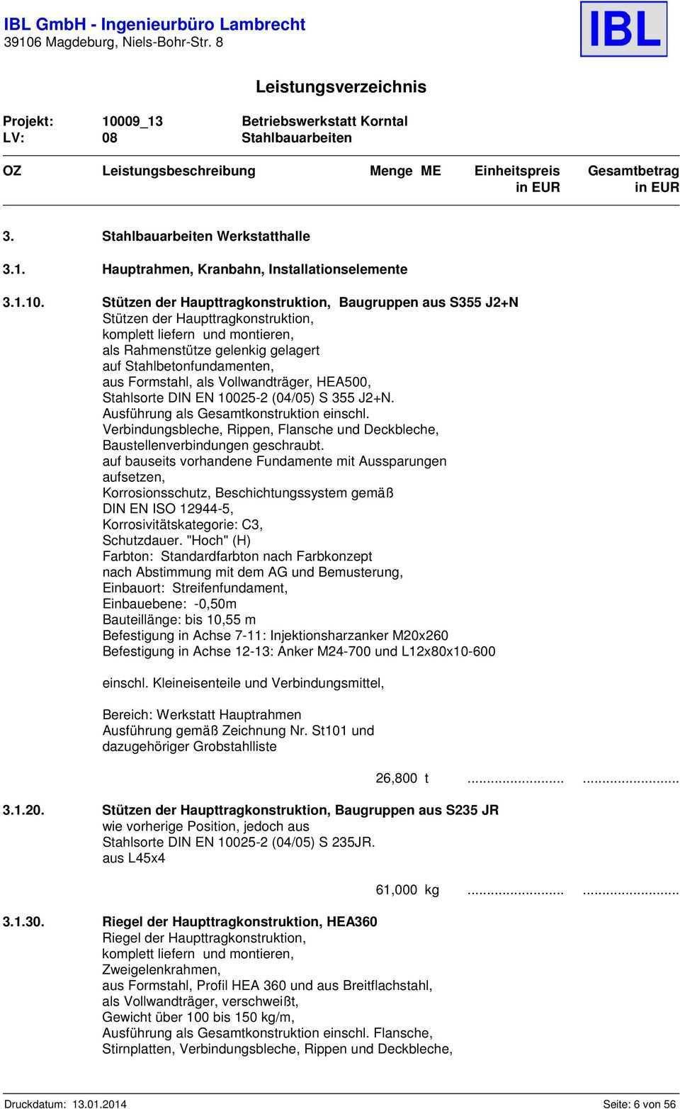 Leistungsverzeichnis Fur Die Vergabeeinheit 08 Stahlbauarbeiten Pdf Free Download