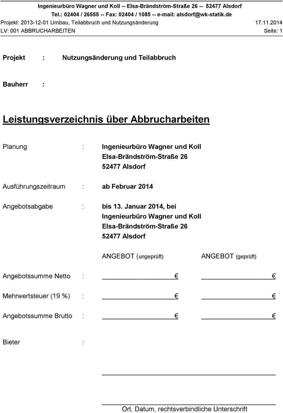 Leistungsverzeichnis Uber Abbrucharbeiten Pdf Kostenfreier Download