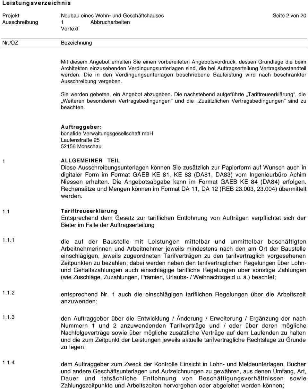 Leistungsverzeichnis Abbrucharbeiten Pdf Kostenfreier Download