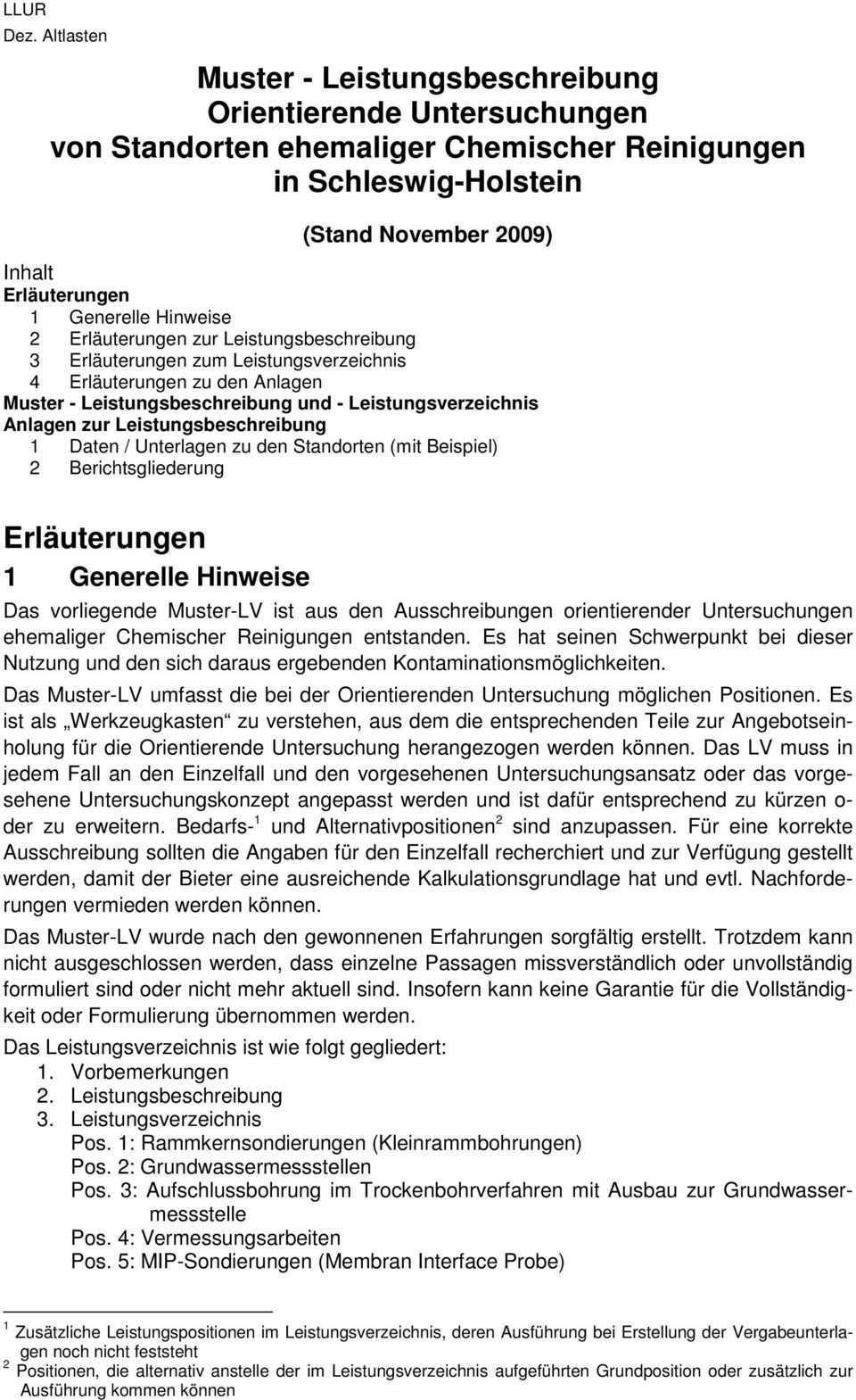 Muster Leistungsbeschreibung Orientierende Untersuchungen Von Standorten Ehemaliger Chemischer Reinigungen In Schleswig Holstein Pdf Free Download
