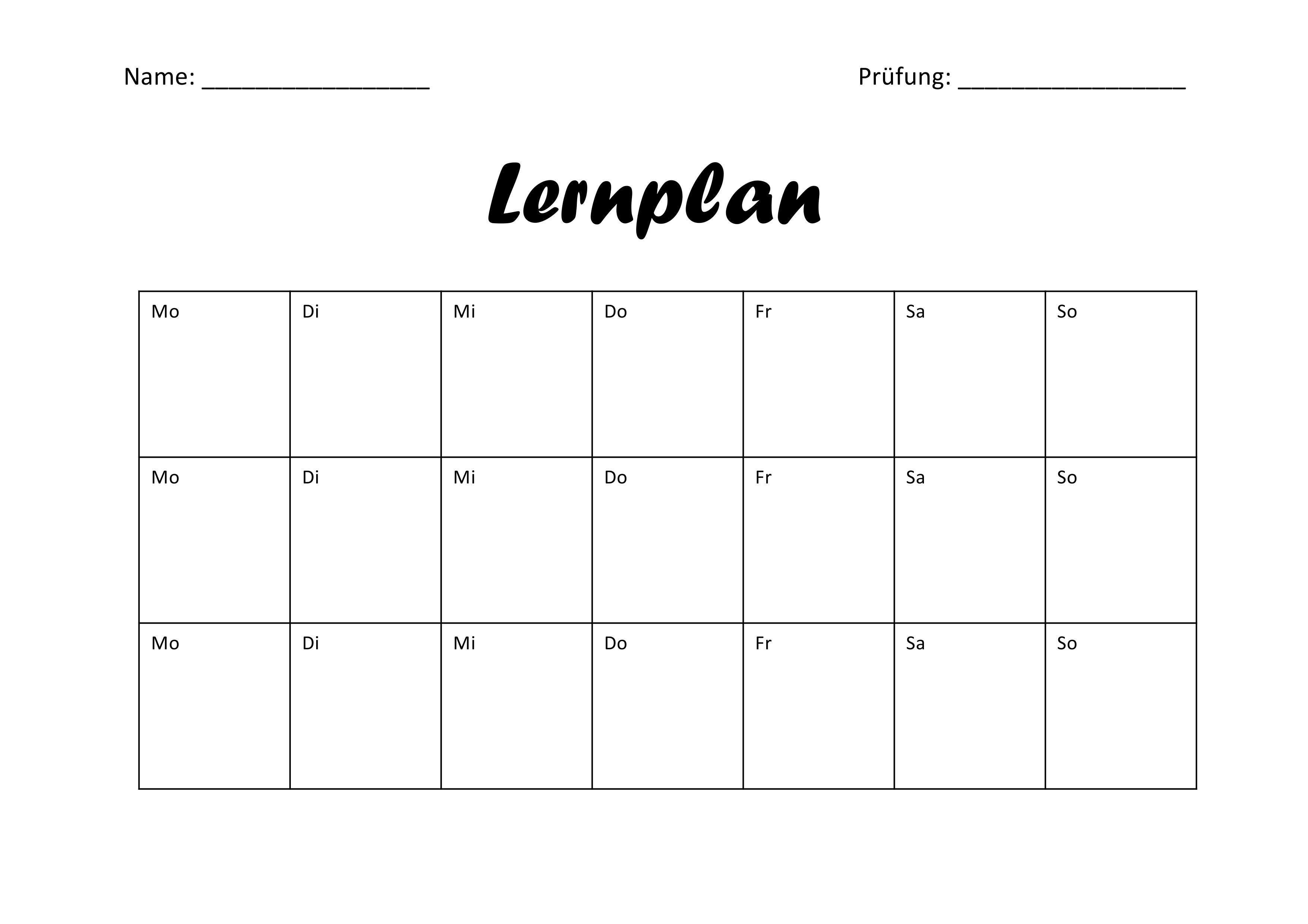 Lernplan Zur Prufungsvorbereitung Lernplan Lernen Tipps Schule Abitur Vorbereitung