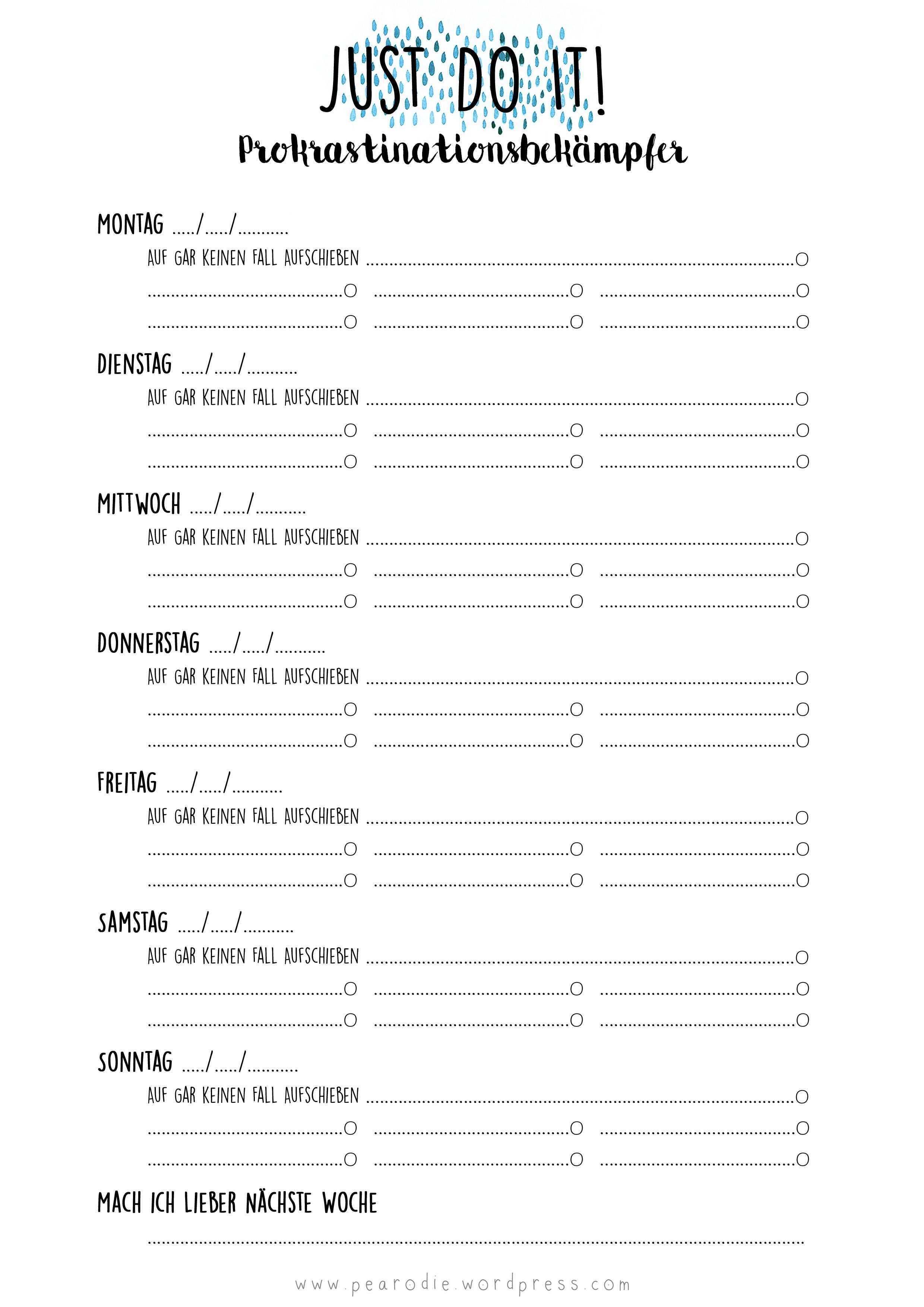 Prokrastinationsbekampfer Free Print Wochenplan Vorlage Planer Vorlagen Lernplan Vorlage