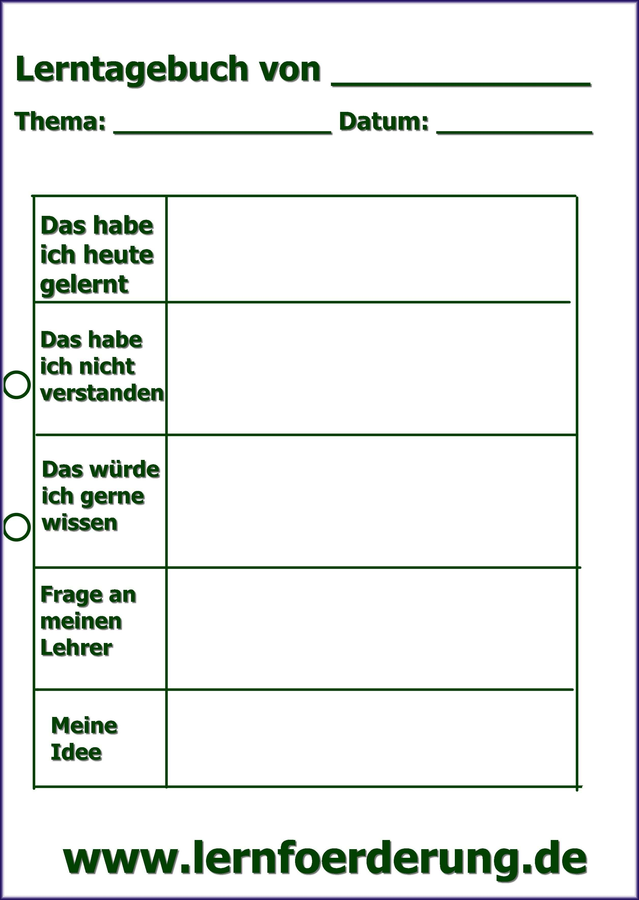 Lerntagebuch Lernen Grundschule Aufsatz Schreiben