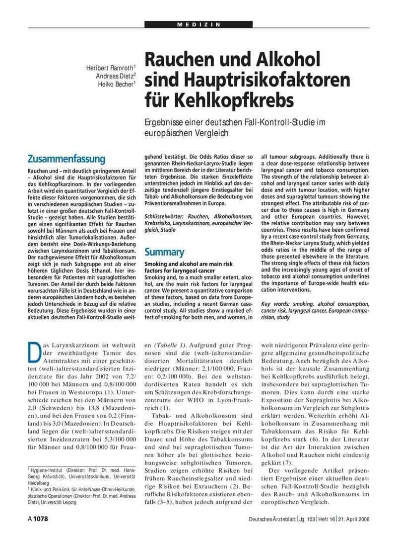Rauchen Und Alkohol Sind Hauptrisikofaktoren Fur Kehlkopfkrebs Ergebnisse Einer Deutschen Fall Kontroll Studie Im Europaischen Vergleich