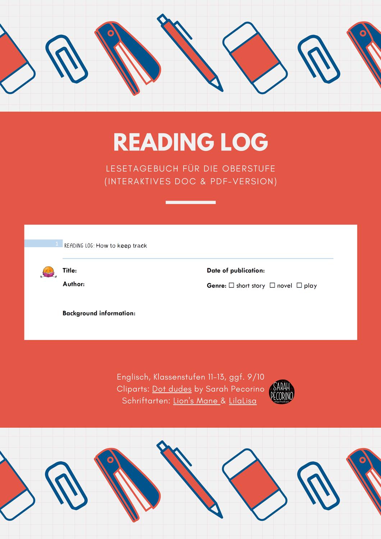 Interaktive Vorlage Reading Log Englisch Oberstufe Unterrichtsmaterial Im Fach Englisch In 2020 Englischunterricht Interaktiv Lesetagebuch Vorlage