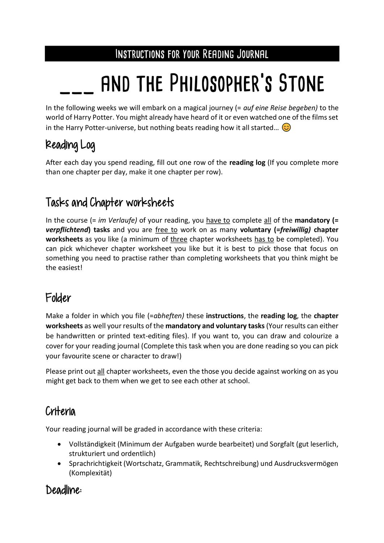 Lesetagebuch Harry Potter And The Philosopher S Stone Einstiegsseiten Unterrichtsmaterial Im Fach Englisch In 2020 Lesetagebuch Lesen Englischunterricht