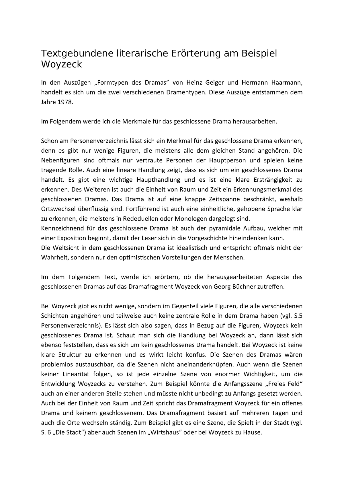 Textgebundene Literarische Erorterung Am Beispiel Woyzeck Studocu