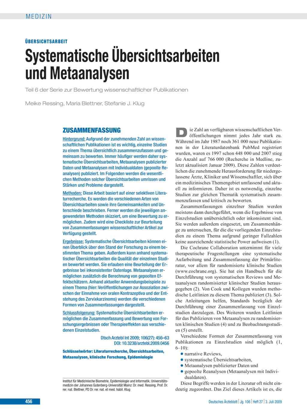 Systematische Ubersichtsarbeiten Und Metaanalysen