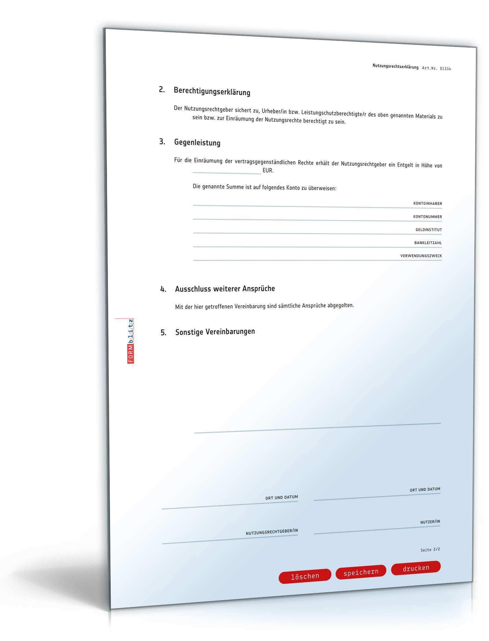 Nutzungsrechteerklarung Rechtssichere Vorlage Zum Download