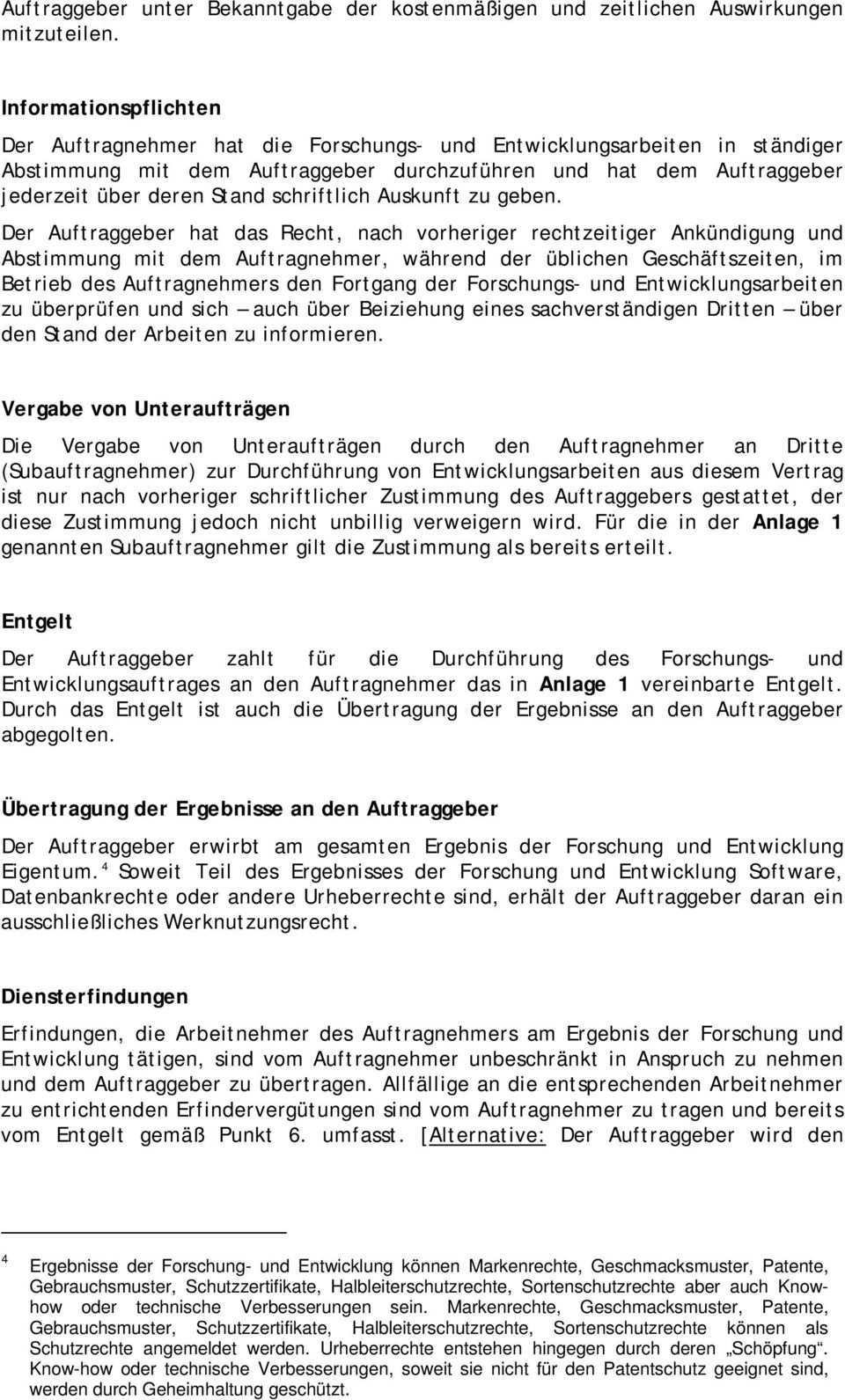 Muster Fur Einen Forschungs Und Entwicklungsauftrag Pdf Kostenfreier Download