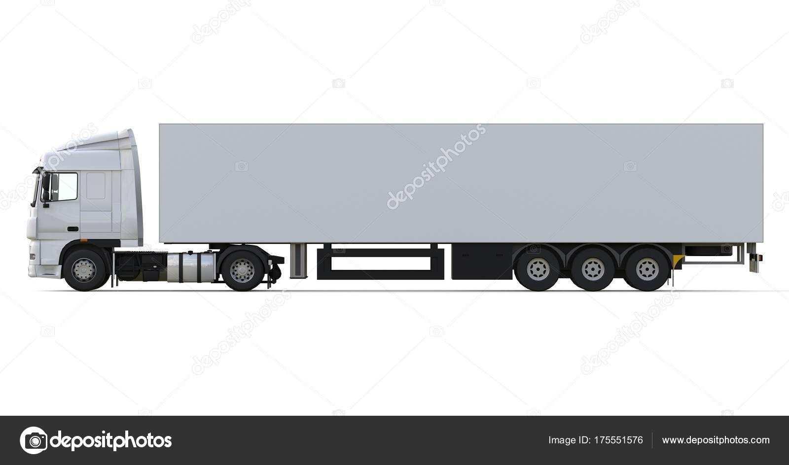 Herunterladen Grosse Weisse Lkw Mit Auflieger Vorlage Fur Das Platzieren Von Grafiken 3d Rendering Stockbild Lkw Lkw Auflieger Lkw Transport