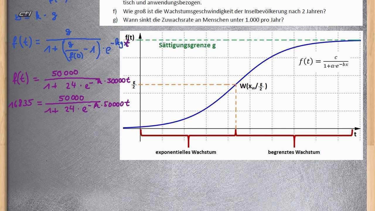 Logistisches Wachstum Exponentialfunktion Ubung 2 Komplett Youtube
