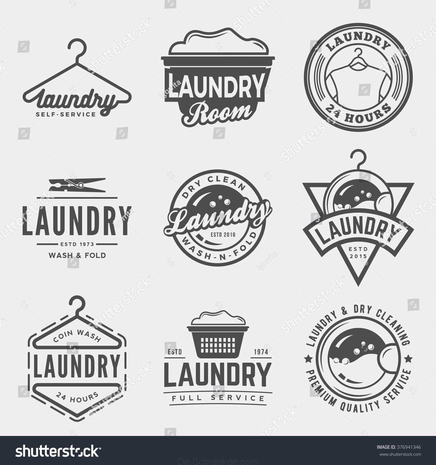 Vektor Satz Von Wasche Logos Embleme Und Design Elemente Logo Vorlagen Und Abzeichen Laundry Logo Laundry Shop Laundry Design