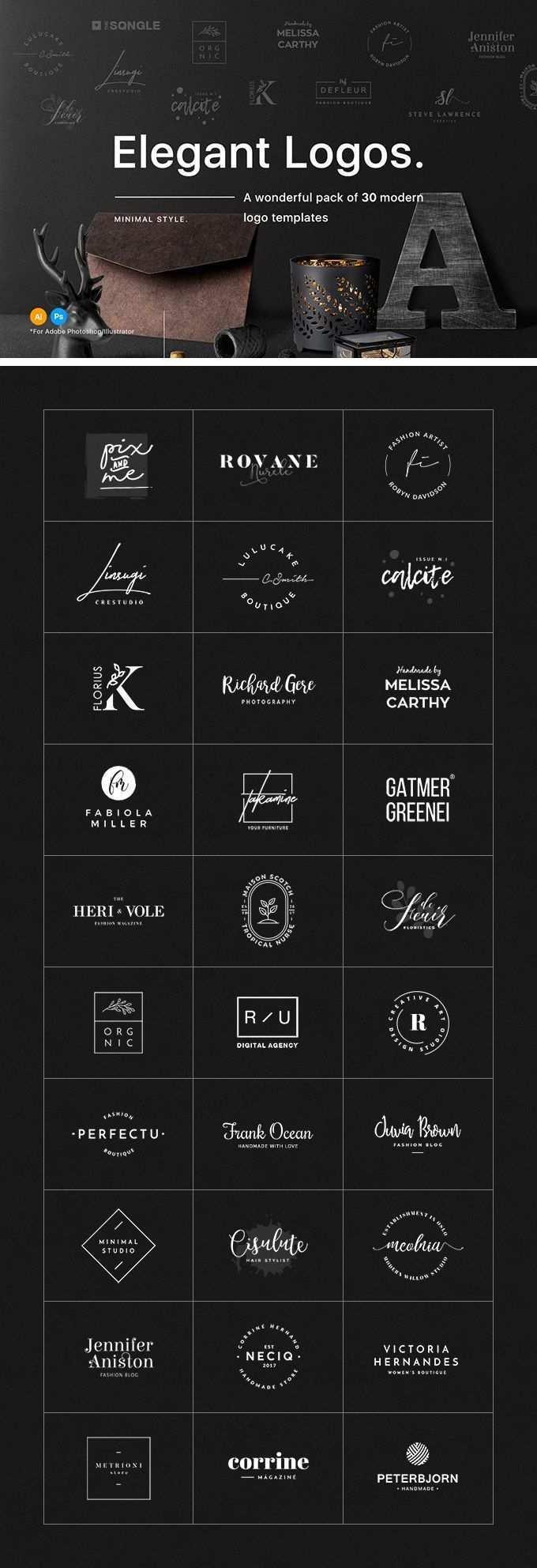 30 Elegant Logo Templates Download Freebie By Pixelbuddha Desain Logo Desain Web Desain