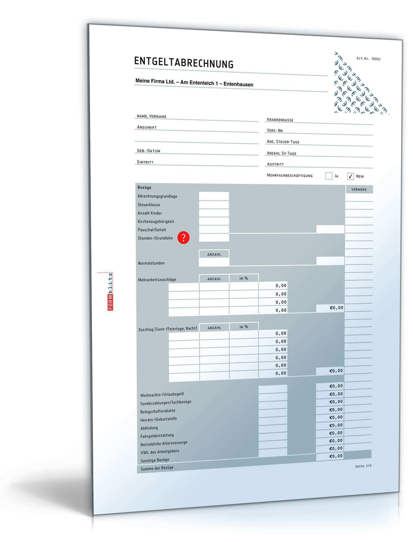 Lohn Und Gehaltsabrechnung 2017 Muster Zum Download