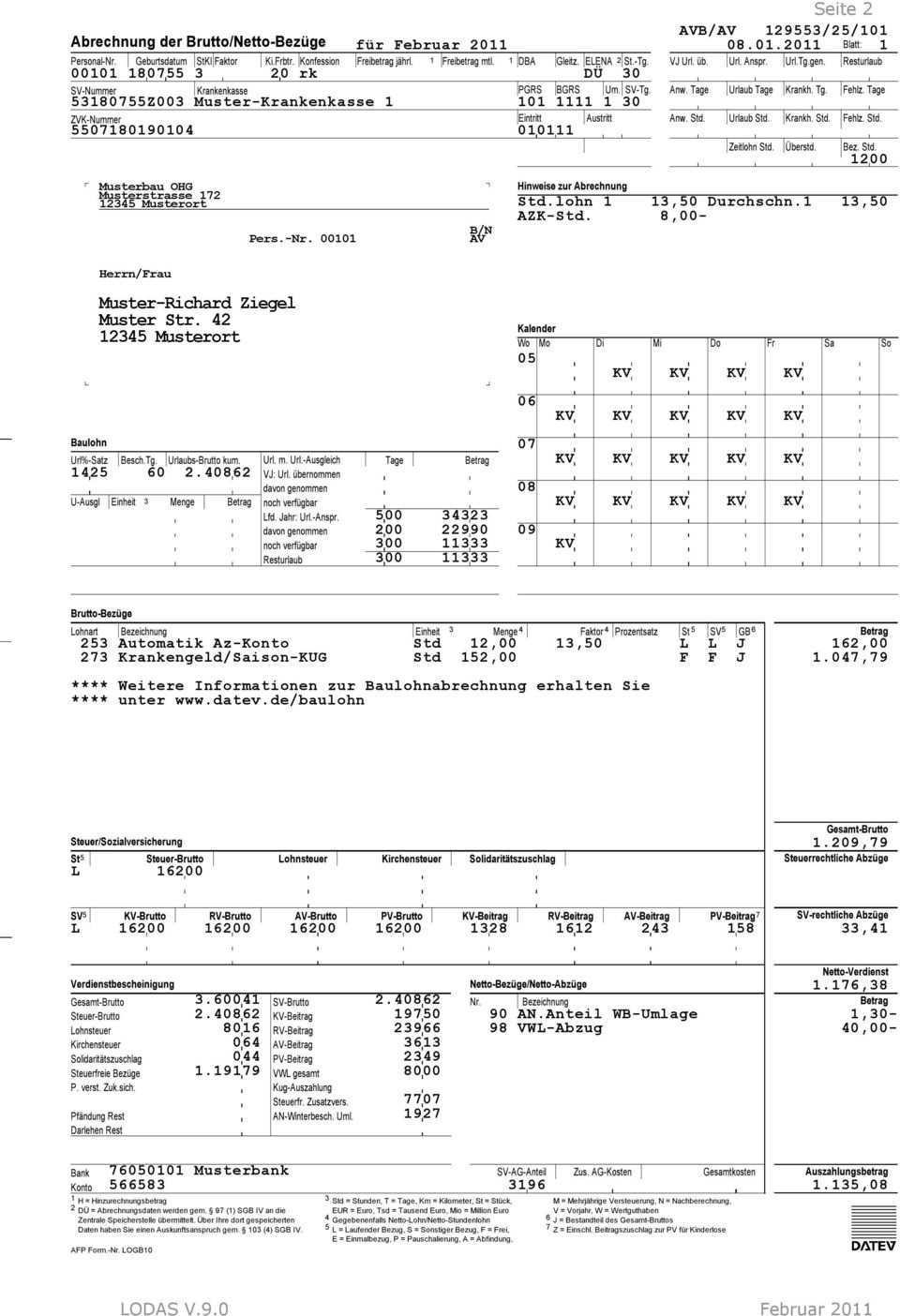 Musterauswertungen Baulohn Lodas Classic Comfort Pdf Kostenfreier Download