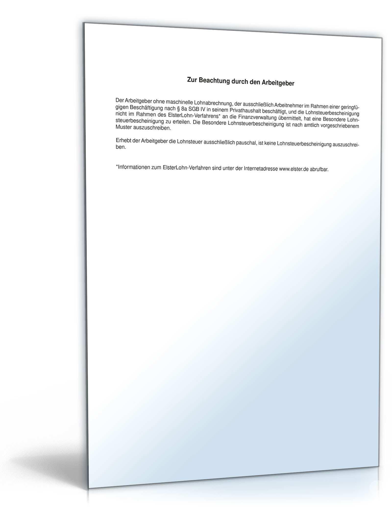 Besondere Lohnsteuerbescheinigung 2011 Formular Zum Download