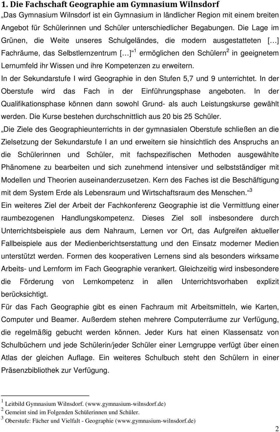 Fachcurriculum Des Gymnasium Wilnsdorf Fur Das Fach Erdkunde Geographie Pdf Kostenfreier Download