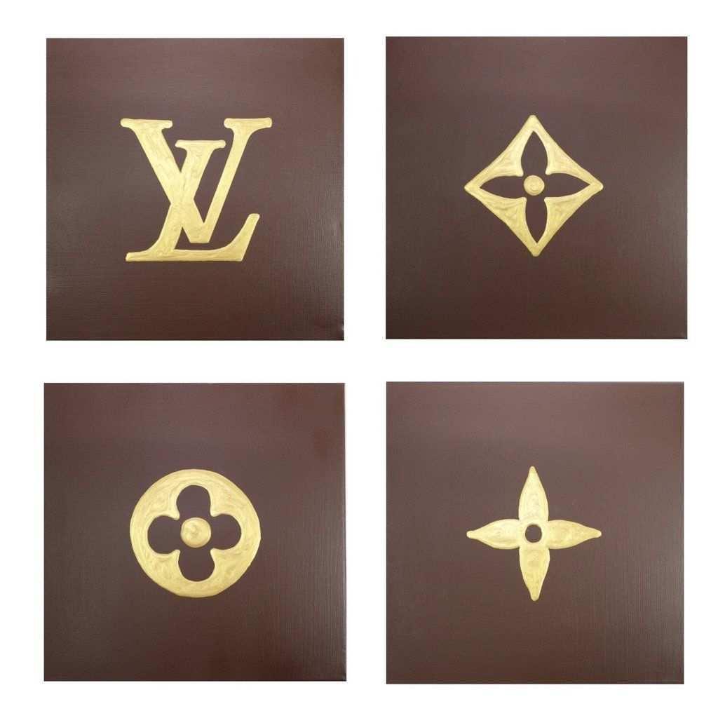 Louis Louis Brown Gold Louis Vuitton Tattoo Louis Vuitton Pattern Glam Wall Art