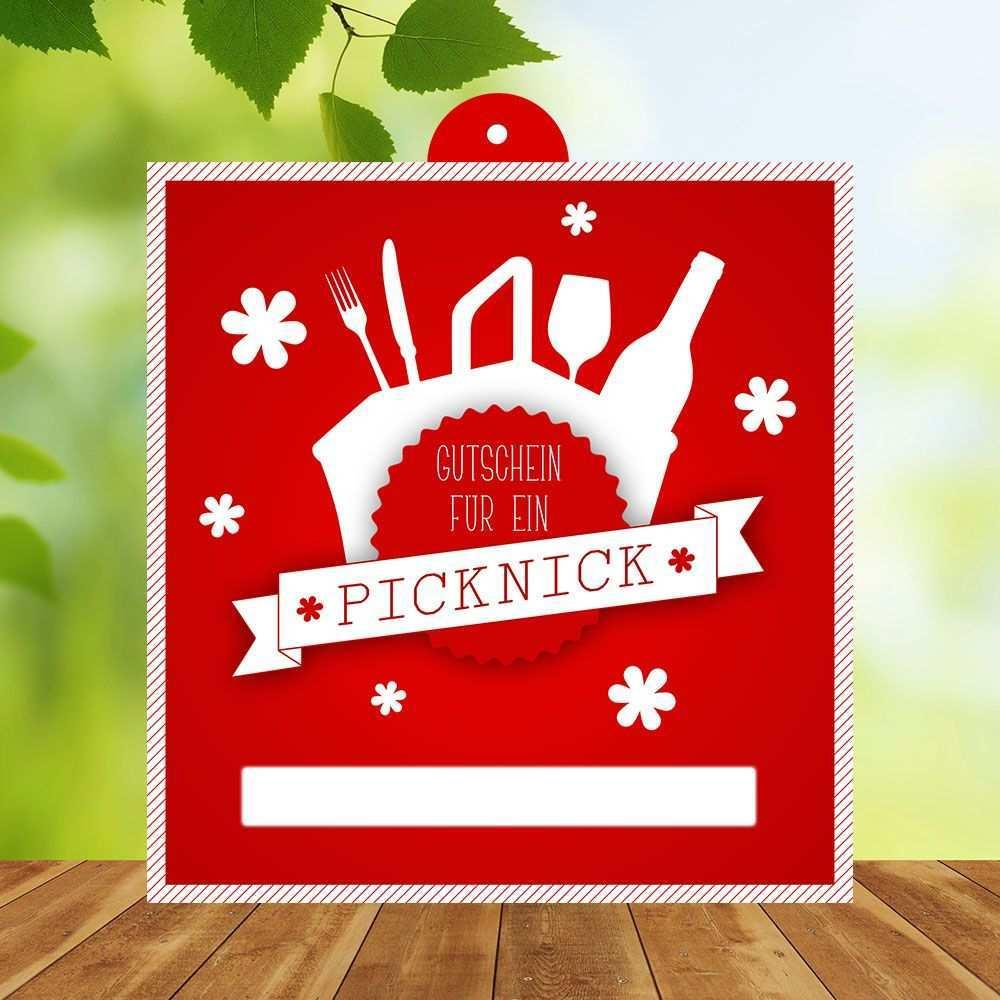 Picknick Gutscheinvorlage Zum Ausdrucken Ca 13 X 15 Cm Eine Tolle Geschenkidee Fur Naturfreunde Gourmets Und Geniesse Gutscheine Gutschein Vorlage Geschenke