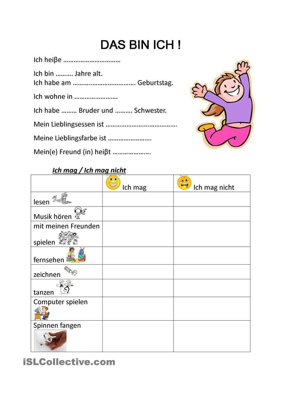 Das Bin Ich Unterrichten Lernen Kindergartenbeginn