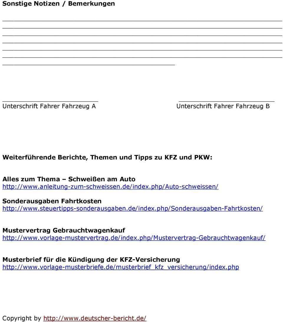 Anleitung Und Vorlage Fur Einen Unfallbericht Pdf Kostenfreier Download