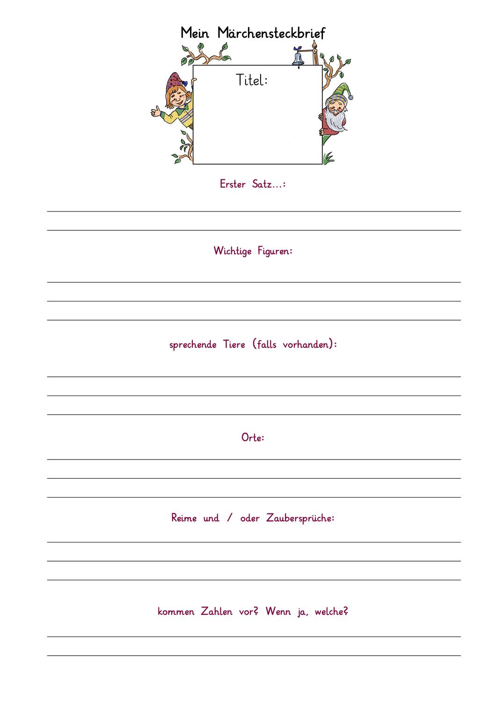 Steckbrief Marchen Unterrichtsmaterial Im Fach Deutsch Brief Grundschule Steckbrief