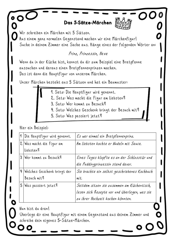 Anleitung Fur Ein 5 Satze Marchen 5 Satz Marchen Unterrichtsmaterial Im Fach Deutsch Unterrichtsmaterial Anleitungen Satzglieder