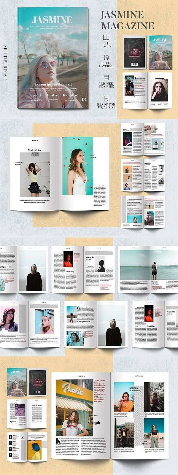 Jasmine Magazine Template Magazine Brochure Template Brochuretemplate Brochuredesign Layout Layoutdesign Editorial In Magazin Design Vorlagen Template
