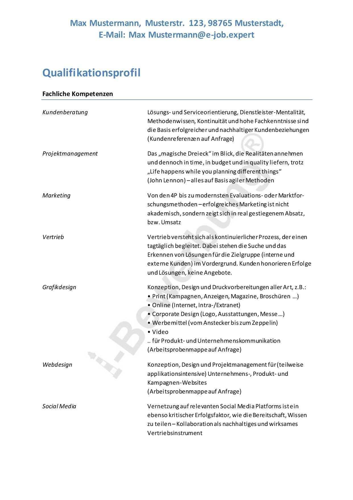 Muster Eines Qualifikationsprofils Fur Eine Initiativbewerbung Schulnoten Brief Deutsch Bewerbung
