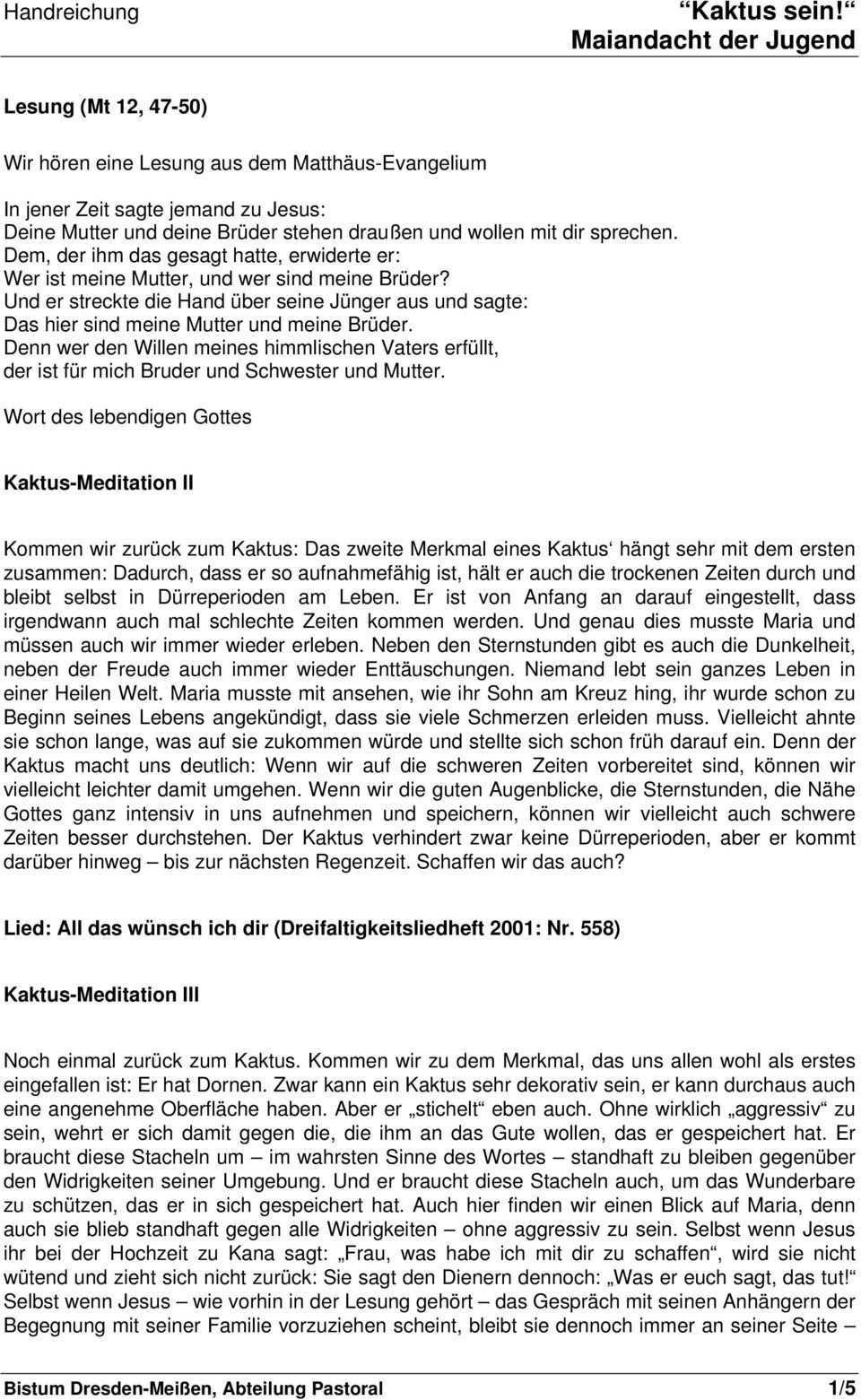 Kaktus Sein Ideen Fur Eine Maiandacht Der Jugend Pdf Free Download
