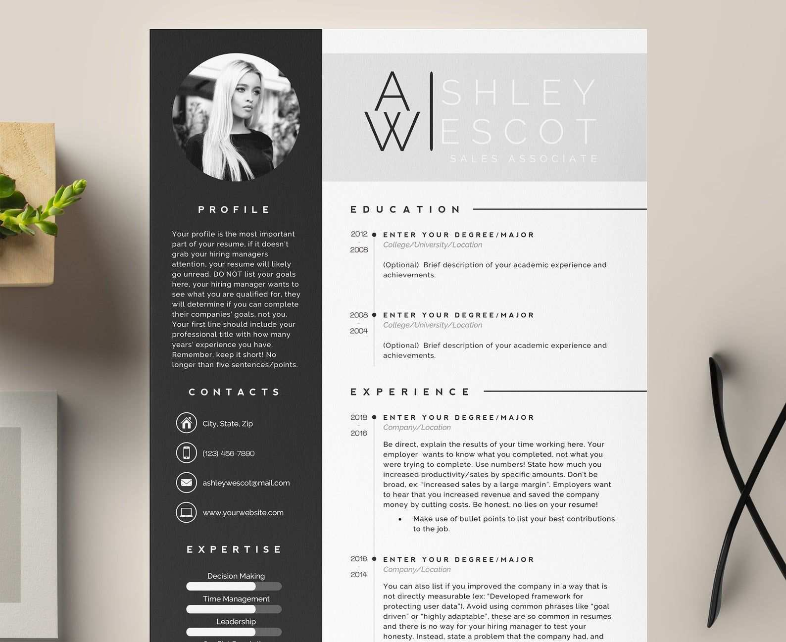 3 Page Resume Template Cover Letter And References Template For Ms Word Mac Printable Modern Resume Professional And Creative Design In 2020 Resume Template Cover Letter Template Lettering