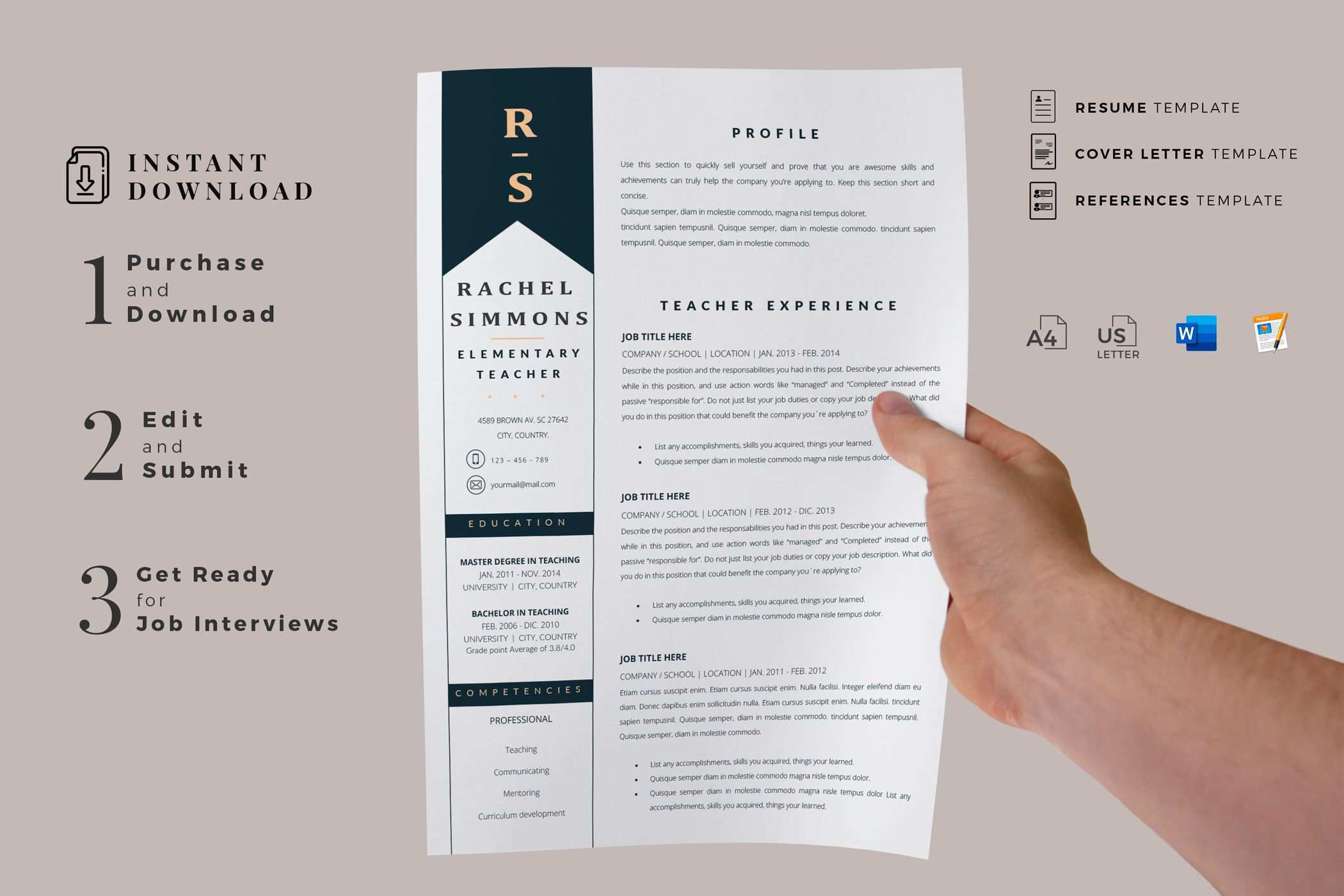 Creative Resume Templates For Ms Word And Mac Pages Professional Resume Templates And Matching Cover Le In 2020 Teacher Resume Template Resume Template Teacher Resume