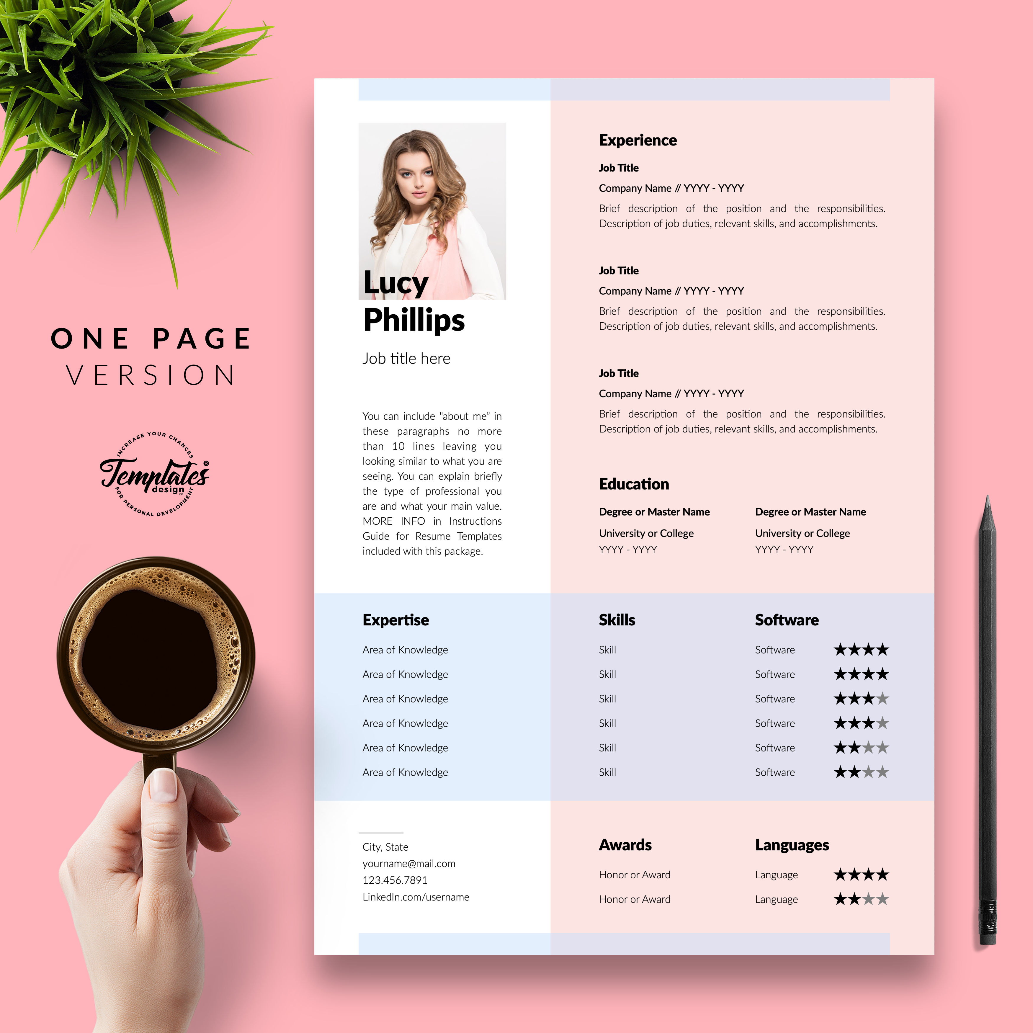 One Page Resume Cv Layout For Microsoft Word Apple Pages In 2020 Resume Templates Resume One Page Resume