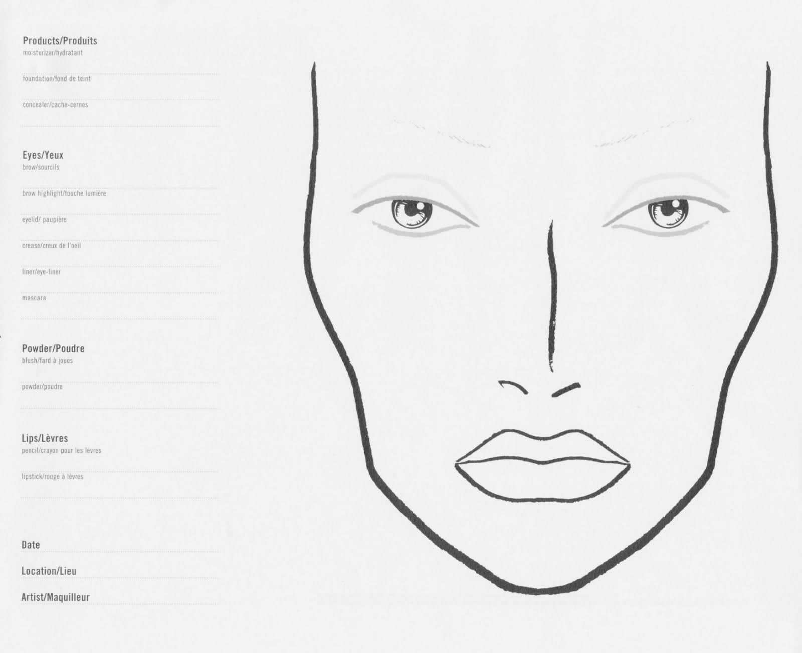 Where Can I Find A Blank Face Template For A Make Up Chart Makeup Face Charts Face Template Makeup Mac Face Charts