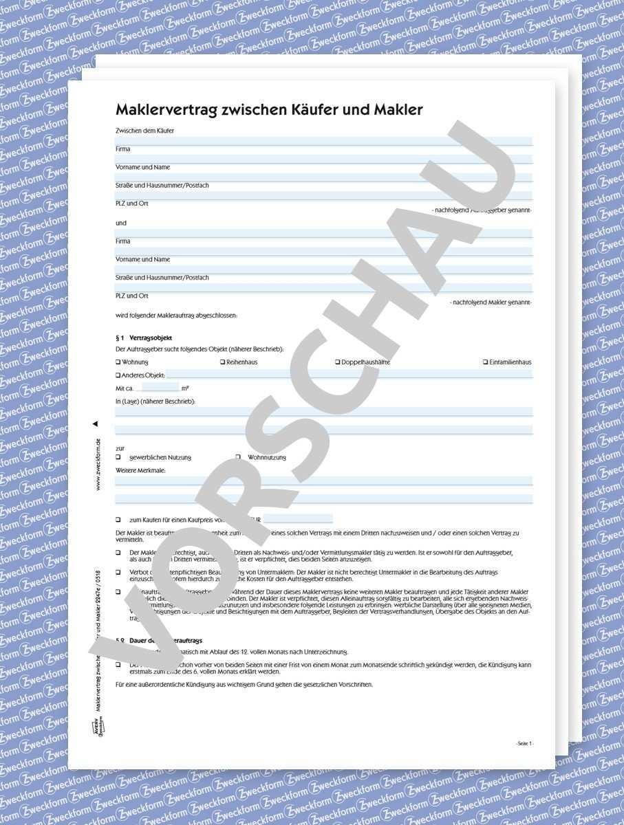 Maklerauftrag Kaufer Makler Formular Download Zweckform