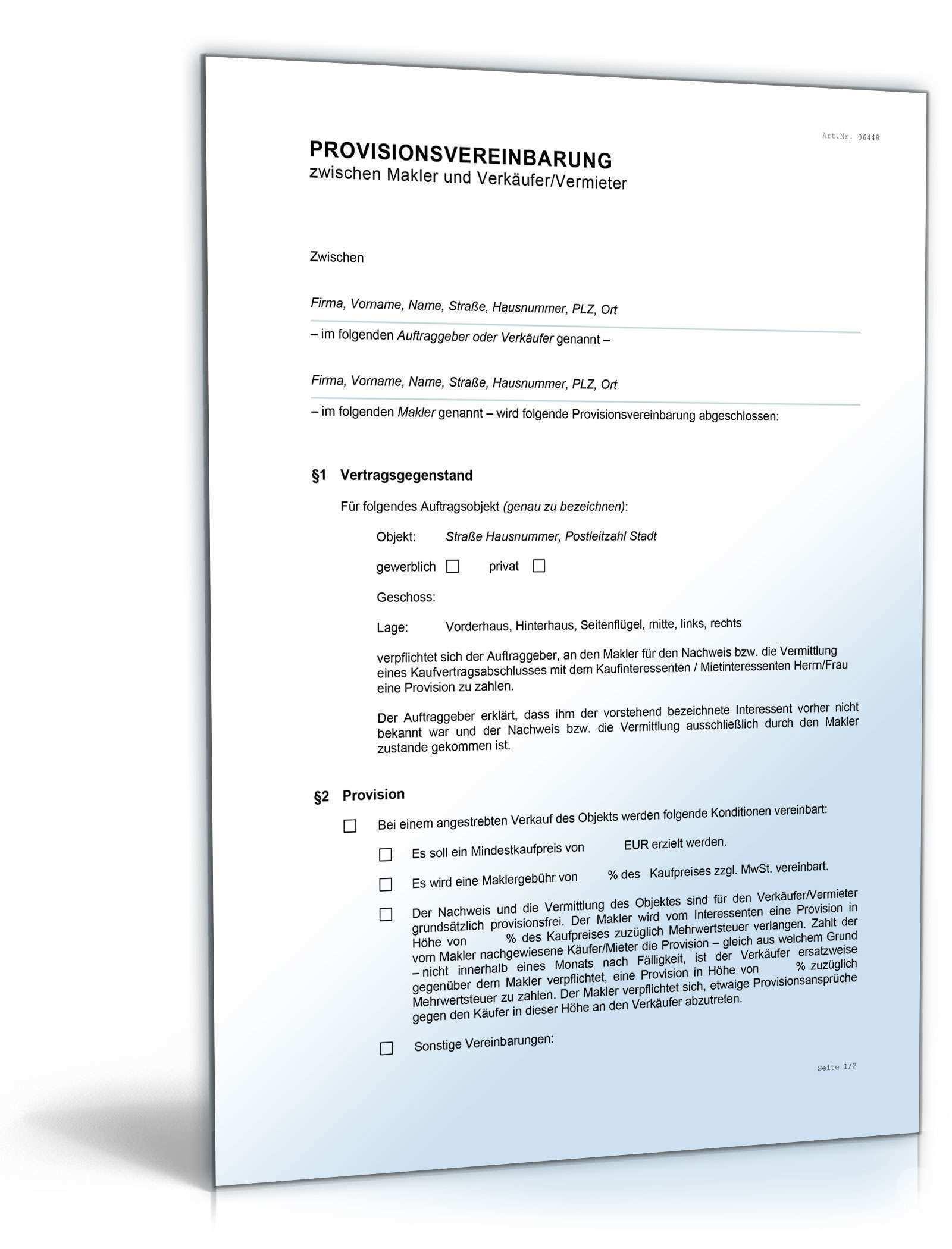 Provisionsvereinbarung Makler Vermieter Muster Zum Download