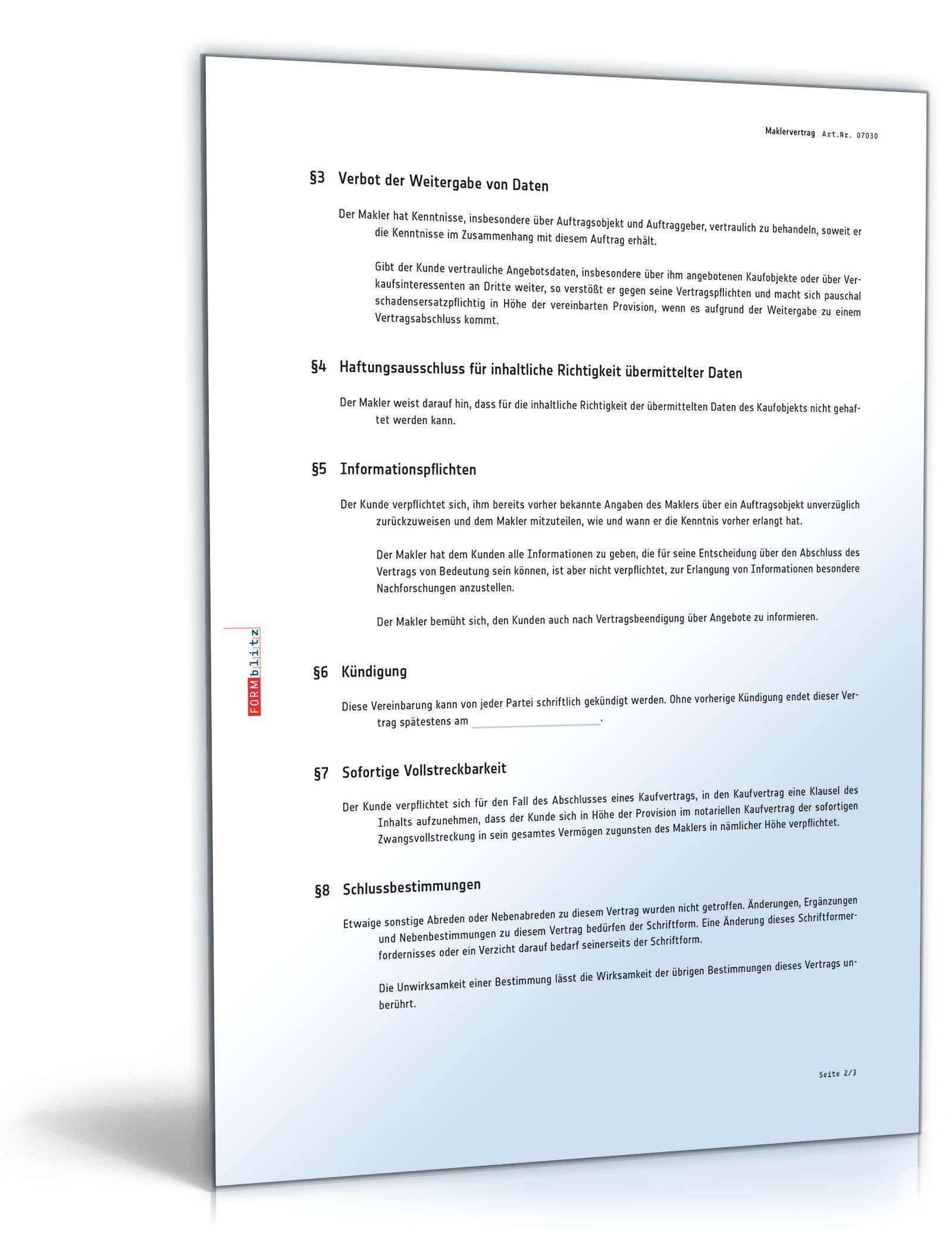 Maklervertrag Muster Nach Schweizerischem Recht Zum Download