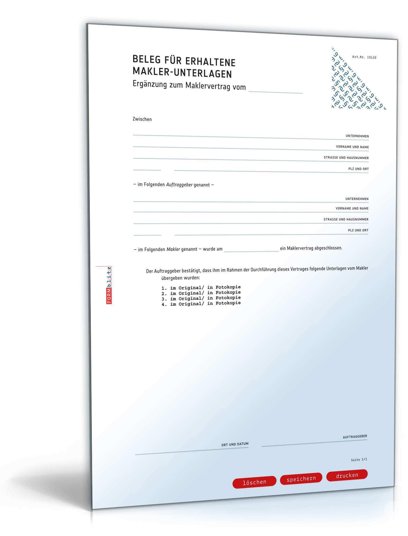 Quittung Maklerunterlagen Vorlage Zum Download