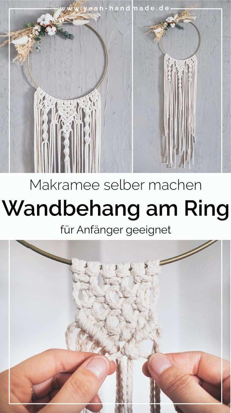 Diy Makramee Wandbehang Am Ring Selber Machen Yeah Handmade Makramee Muster Anleitung Makramee Selber Machen Wandbehang