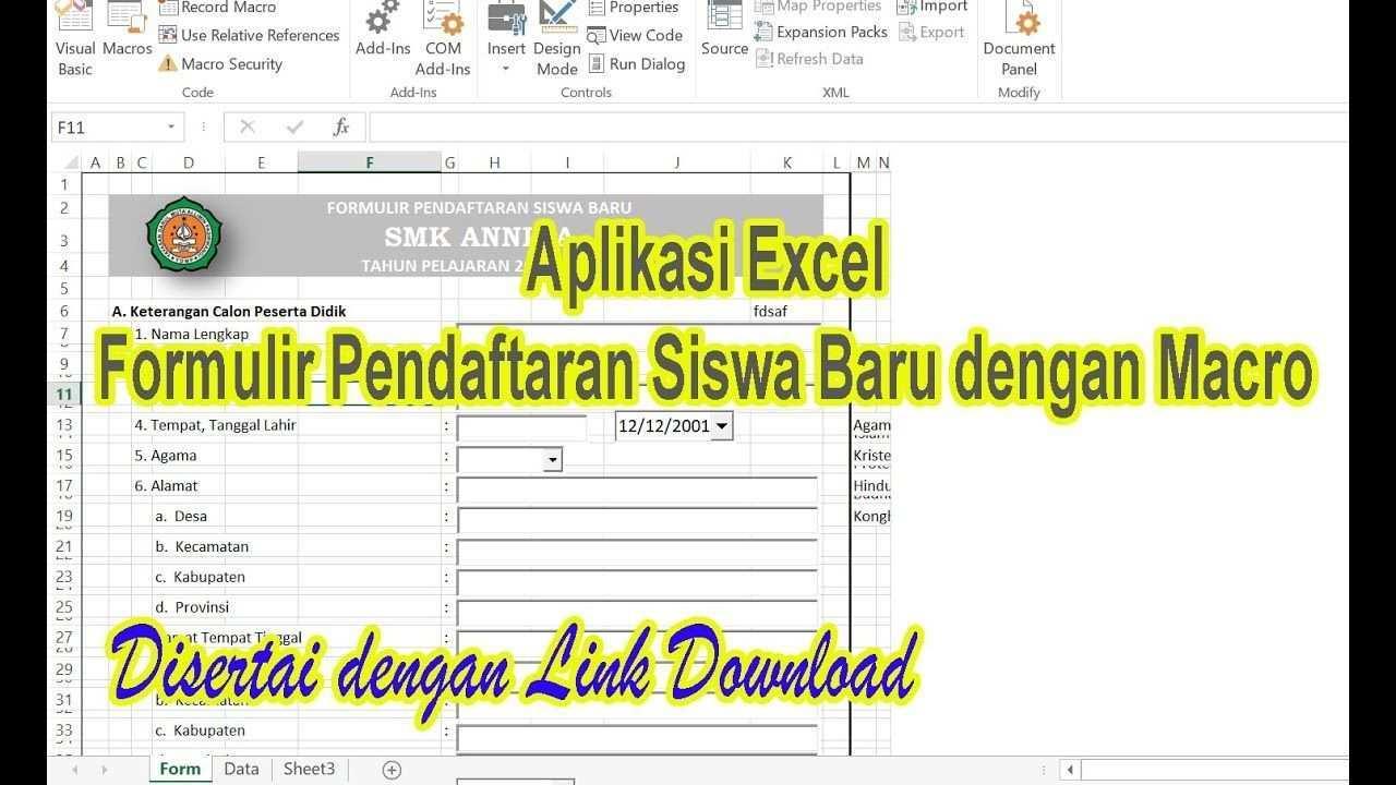 Aplikasi Formulir Psb Dengan Macro Excel Aplikasiexcel Aplikasi Blog
