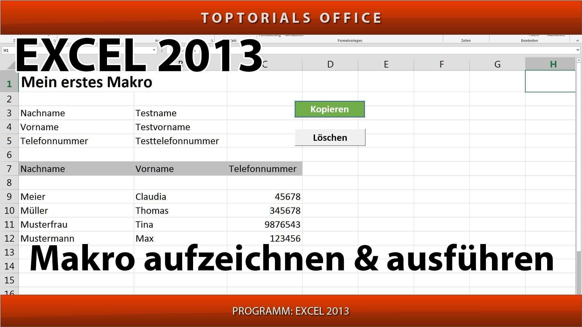 Makro Erstellen Und Ausfuhren Ganz Einfach Excel