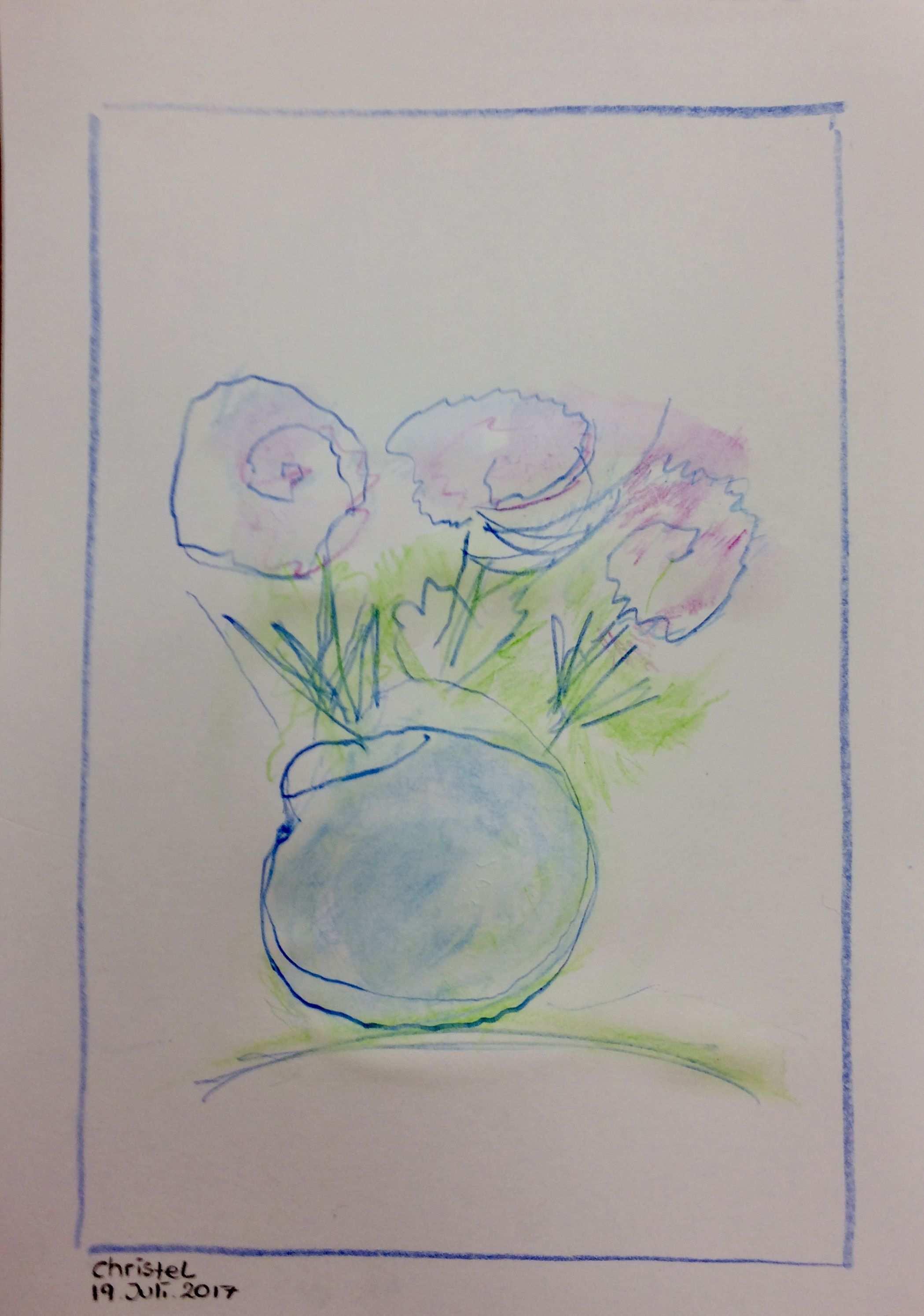 Christl Blumen Mit Vase Aquarellstifte Teilnehmer Der Tagesbetreuung 1 Aquarellstift Kunstprojekte Aquarell Stifte