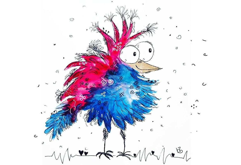 Ein Verruckter Vogel Kinder Malerei Aquarellbilder Abstrakt Malen