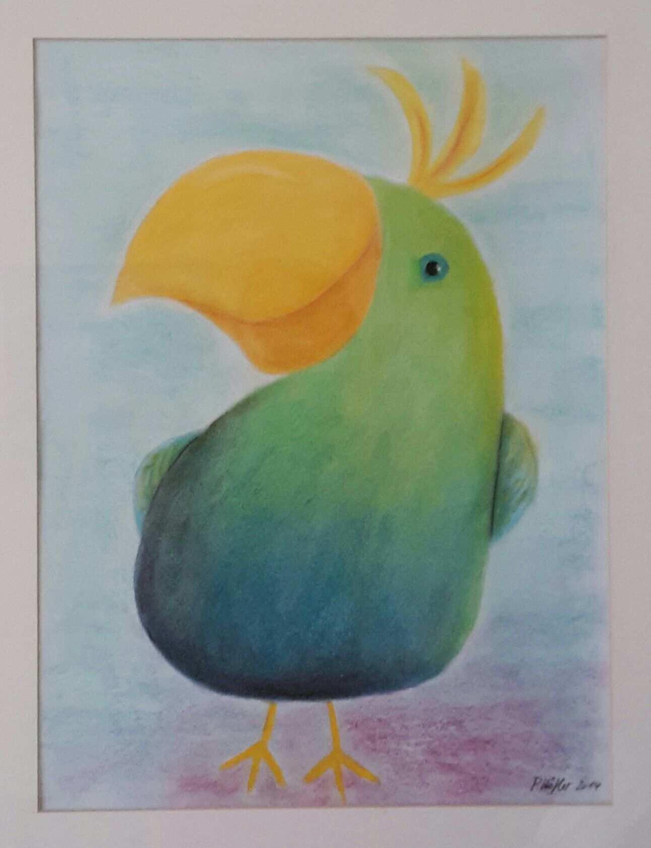 Lustiger Vogel Furs Kinderzimmer Technik Pastellkreide Pastell Kreide Kreidemalerei Pastellkunst