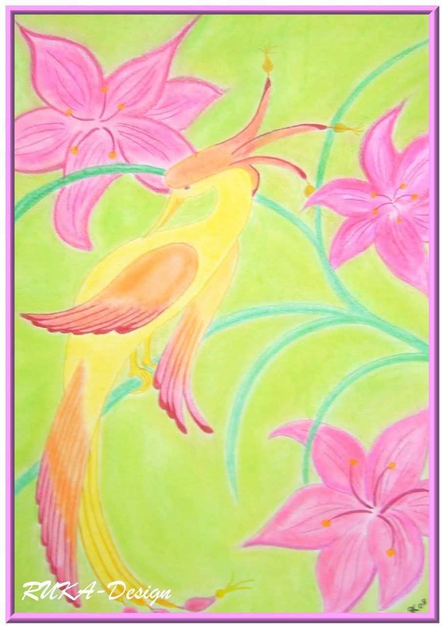 Feuervogel Pastellkreide Pastell Kreide Pastell Malerei