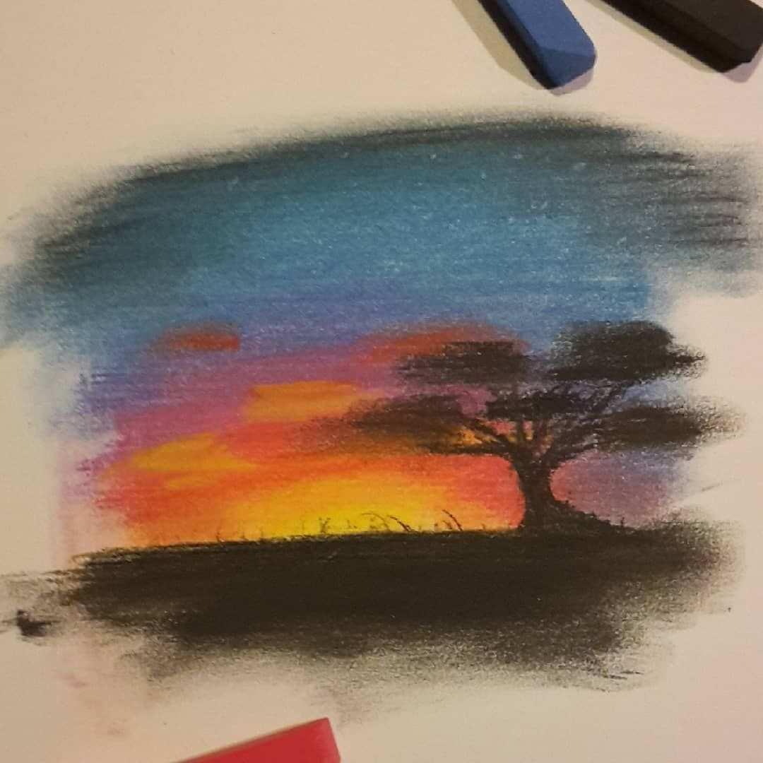 Art Artist Painting Kunst Kunstlerin Illustration Paperart Paper Pastellkreide Chalk Pastell Sunset Pastell Kreide Pastell Bilder Pastell Malerei
