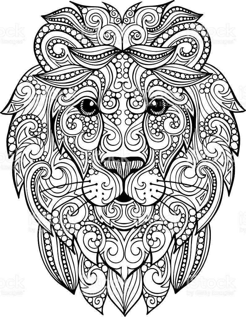 Hand Drawn Doodle Ornate Lion Illustration Lizenzfreies Hand Drawn Doodle Ornate Lion Illustration Stock Vekto Lowen Illustration Illustration Mandala Ausmalen