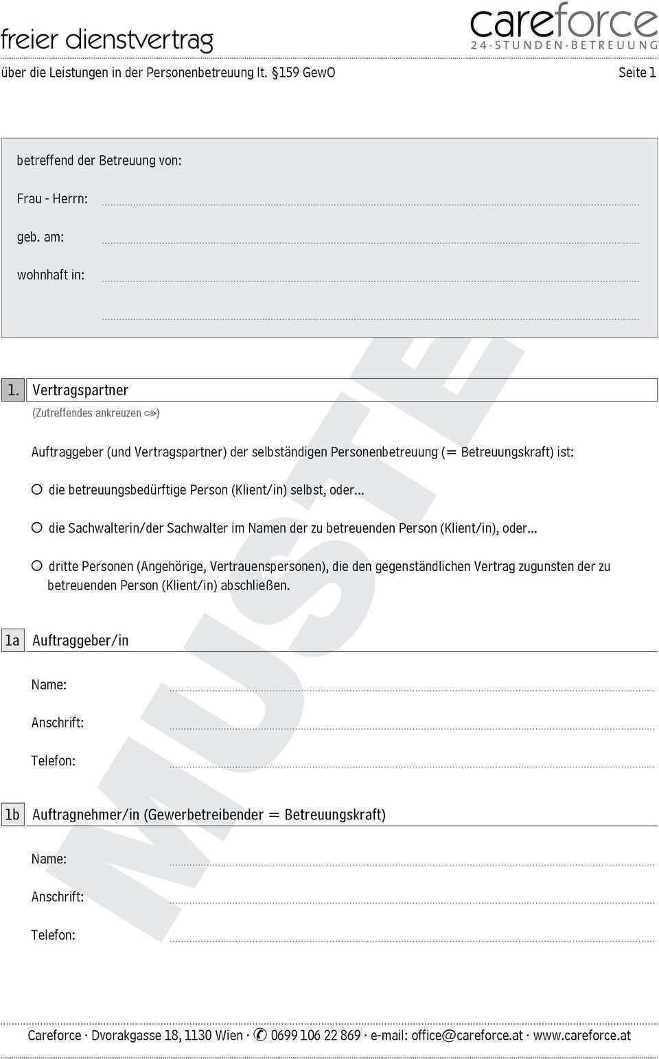 Muster Auftraggeber Und Vertragspartner Der Selbstandigen Personenbetreuung Betreuungskraft Ist Pdf Kostenfreier Download