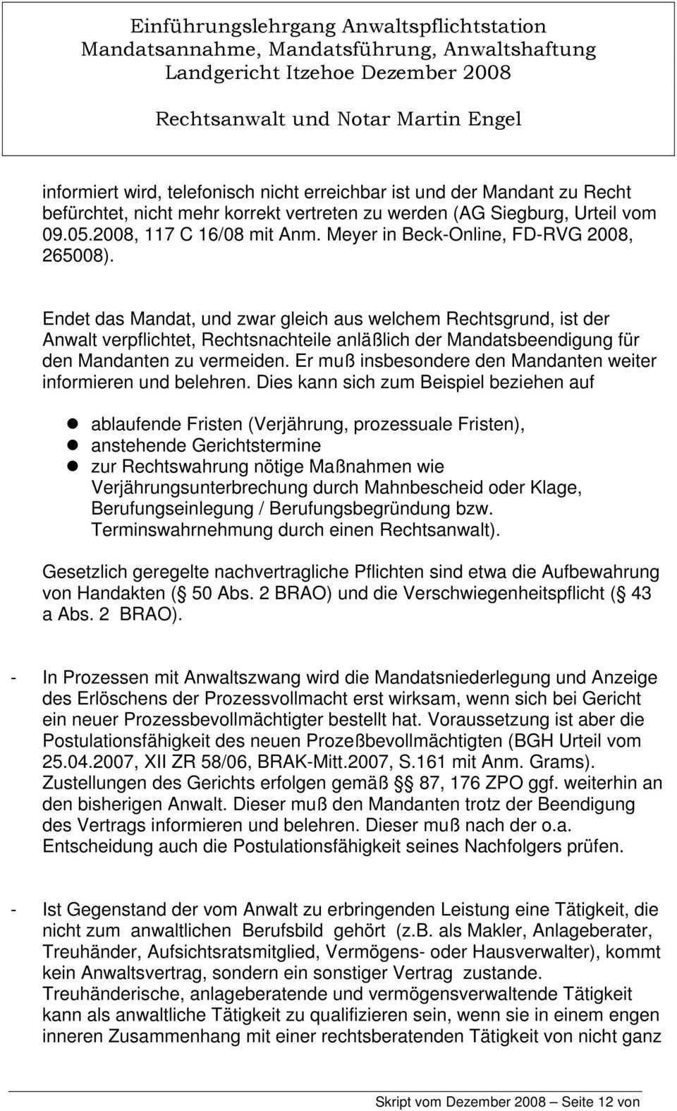 Ra Und Notar Martin Engel Einfuhrungslehrgang Anwaltspflichtstation Pdf Free Download